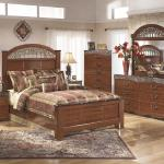 Ashley 4 Pc Bedroom - Includes: Queen Bed, Dresser, Mirror, Chest - Also Available in King - Cherry/Marble <$1099- Queen>  <$1199- King> Nightstand Available - $139-