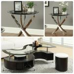 Coaster 3 Pc Table Set + 2 Stools - Glass/S-Shape $549-