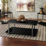 Ashley 3 Pc Table Set - Black Glass/Grey $199-